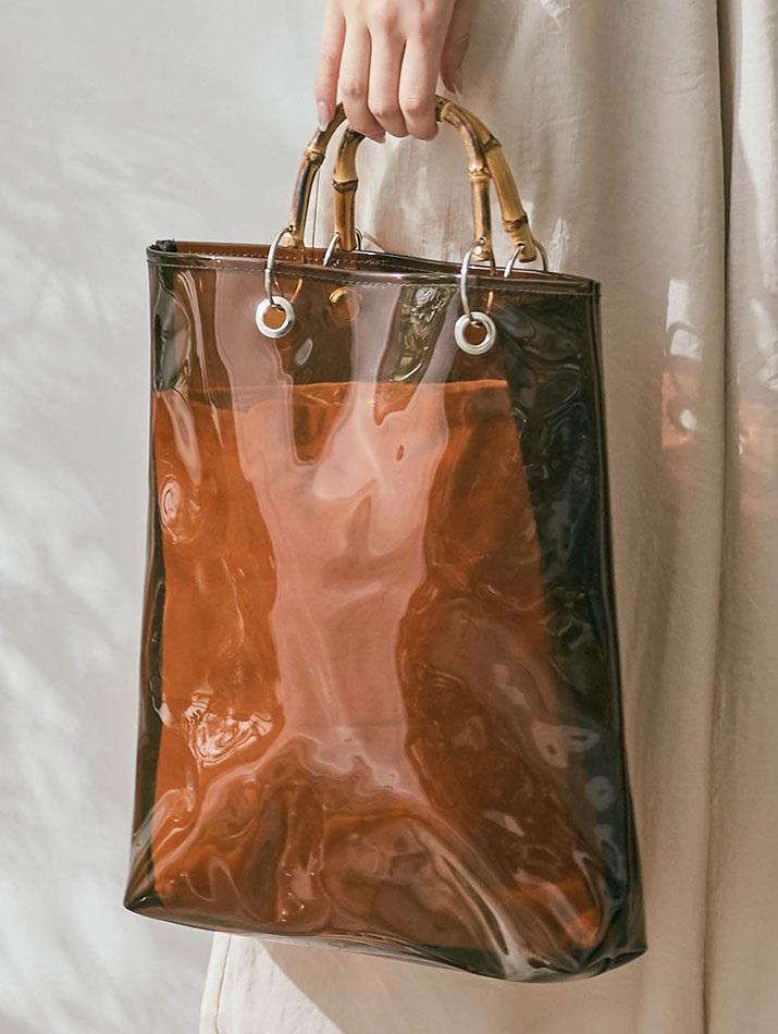 バッグ《インナーバッグ付き バンブーハンドルスクエアクリアバッグ 全2色》
