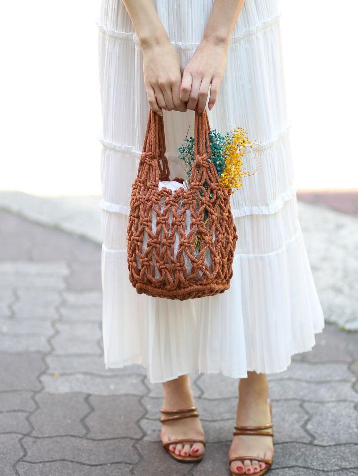 バッグ《インナーバッグ付き コットンロープ透かし編みバッグ 全5色》