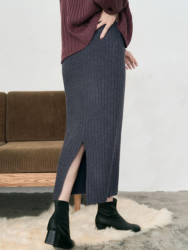 スカート《バックスリットリブニットタイトスカート 全6色 2タイプ》