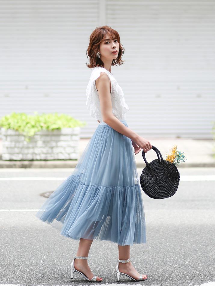 スカート《フレアヘムチュールロングスカート 全4色》