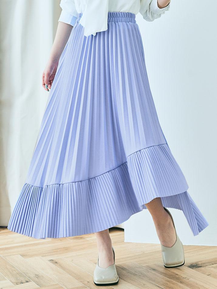 スカート《アシンメトリーラッフルプリーツスカート 全4色》