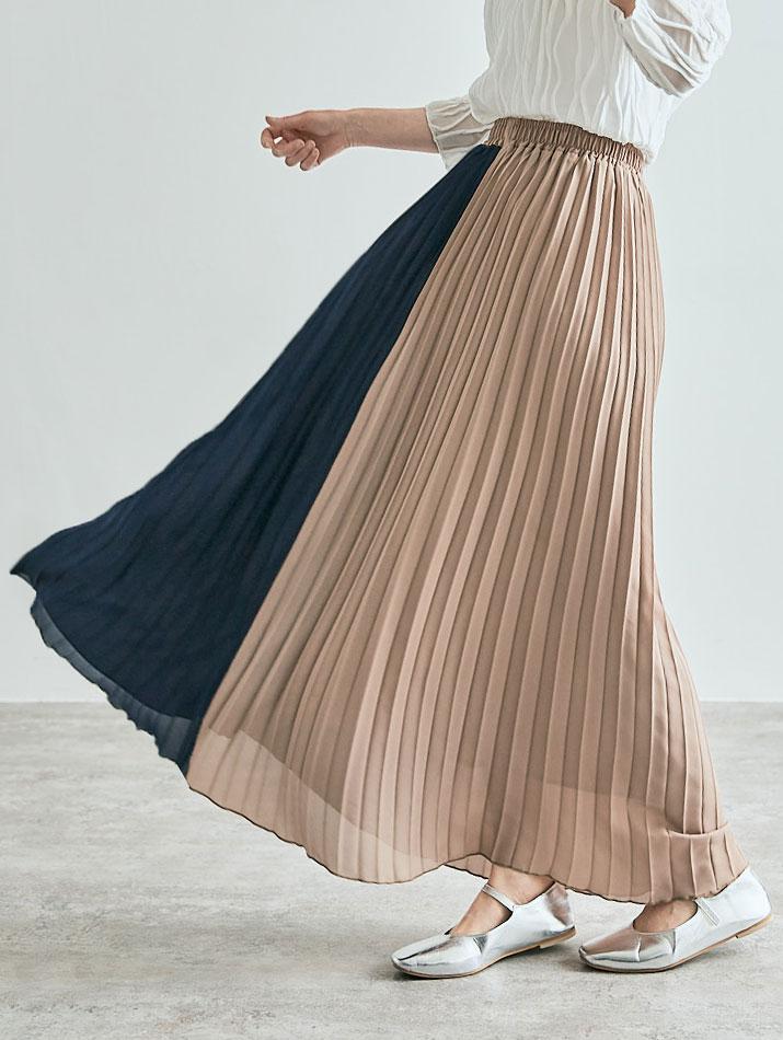スカート《シフォンプリーツロングスカート 全15色 2タイプ》
