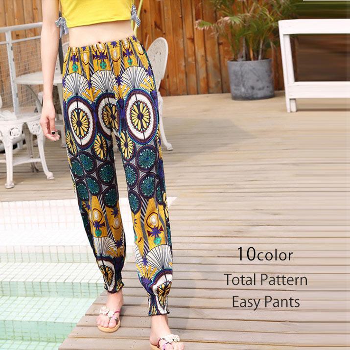 パンツ《総柄イージーパンツ 全10色》