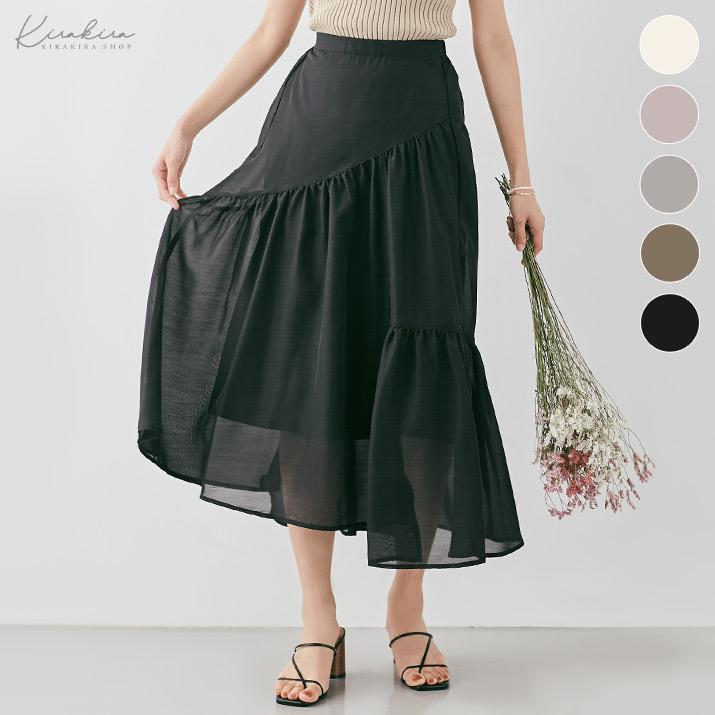 スカート《切り替えシアーティアードスカート 全5色》
