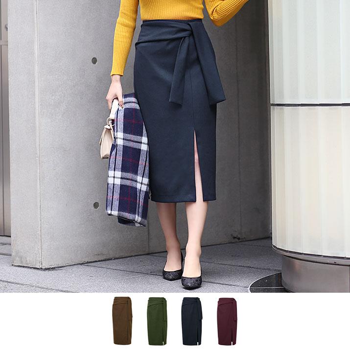 スカート《ウエストリボン スリットタイトスカート 2サイズ 全4色》