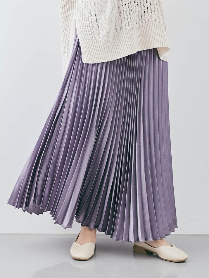 スカート《サテンプリーツロングスカート 全5色》