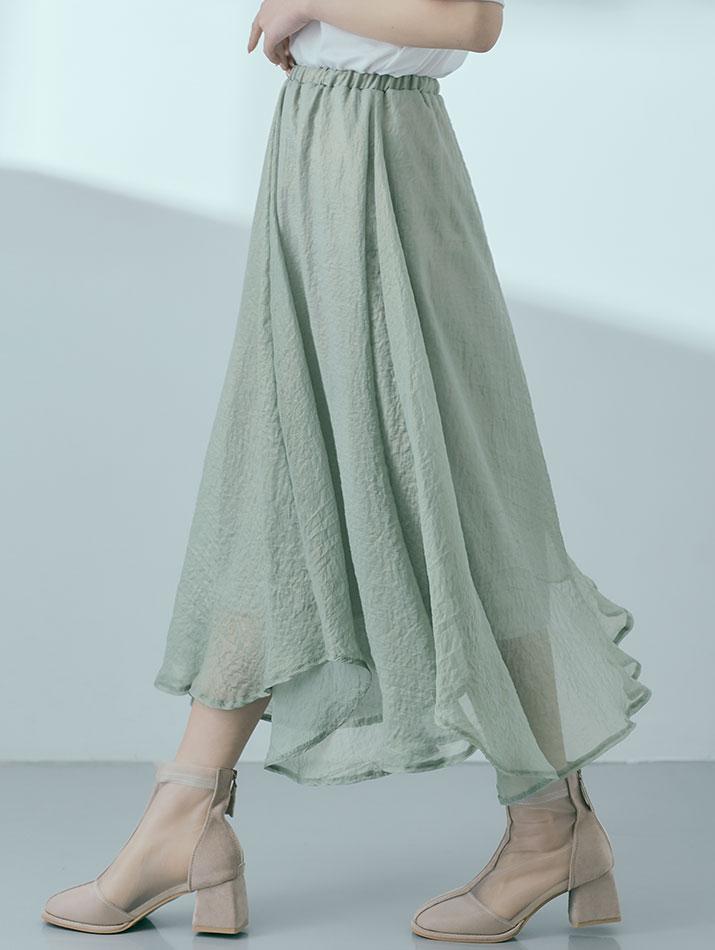 スカート《オーロラシアーフレアスカート 全4色》