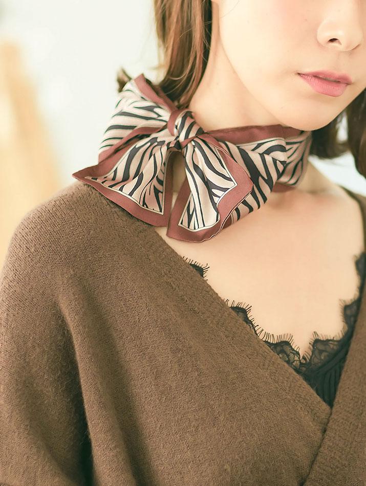 スカーフ《ゼブラ柄ツイリースカーフ 全2色》
