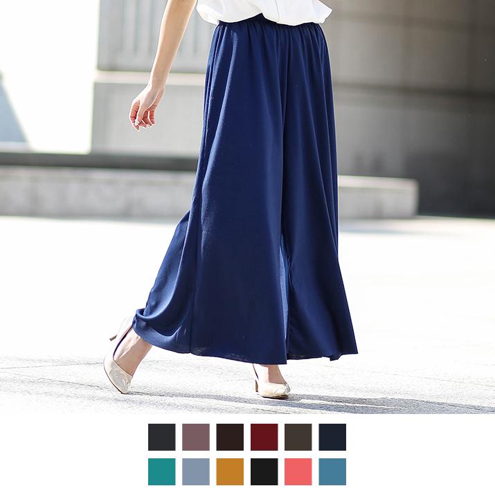 ワイドパンツ 《スカートのようなワイドフレアロングパンツ 全12色》