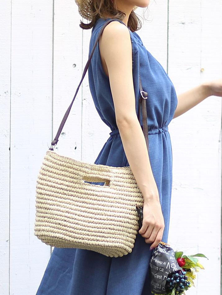 かごバッグ《全3色 かご編みペーパーハンドバッグ》