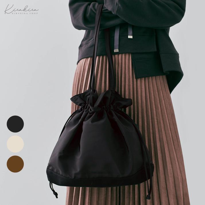 バッグ《ナイロン巾着トートバッグ 全3色》